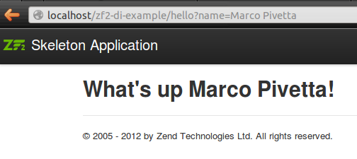Preview of the output of the Zend\Di based Mvc SOA example